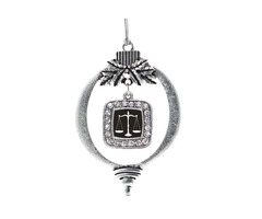 Shop for Scale Of Justice Square Charm Christmas / Holiday Ornament