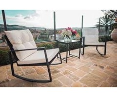 SUNCROWN Outdoor 3-Piece Rocking Bistro Set: Black Wicker Furniture-Two Chairs With Glass Coffee Tab