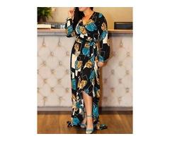 Long Sleeve Floor-Length Asymmetrical Womens V-Neck Dress