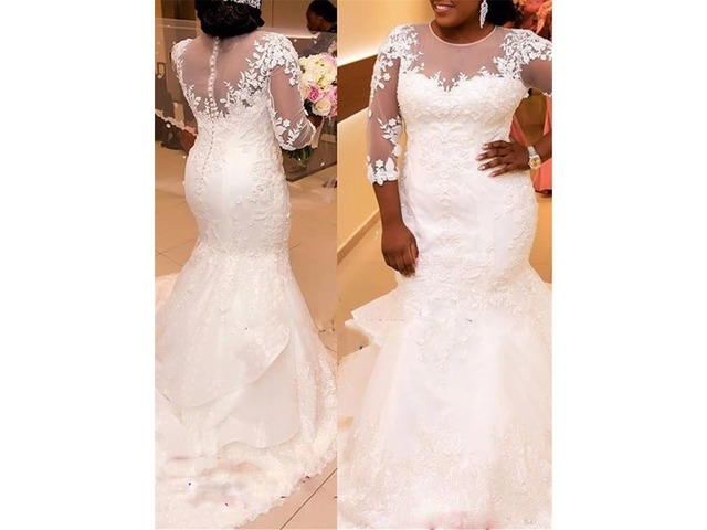 Appliques Mermaid Plus Size Wedding Dress with Sleeves ...