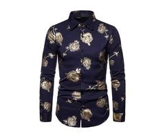 Fashion Print Floral Lapel Slim Mens Shirt