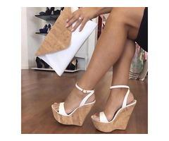 Platform Line-Style Buckle Wedge Sandals