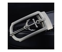 Captain Series Cowhide Hollow Out Metal Smooth Fastener Mens Belts