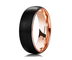 Black Matte Finish Tungsten Carbide Ring with Inside Rose Gold Dome Edge