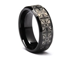 Unisex or Men's Tungsten Wedding Band. Black with Laser Etched Celtic Crosses and Beveled Edge