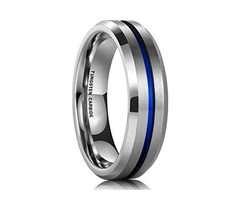 Unisex or Women's Tungsten Wedding Band. Silver and Blue Tone Matte Finish Tungsten Carbide Ring. Be