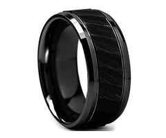 Unisex or Men's Tungsten Wedding Band. Black Hammered Finish Tungsten Carbide Ring with Beveled Edge