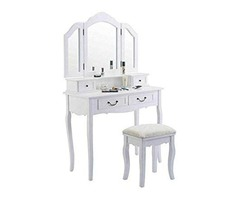 White Wood Tri Folding Mirror Vanity Makeup Table Dresser Desk Set Storage Drawer W/Stool With Eboo