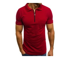 Plain Polo Neck Zipper Short Sleeve Mens T-Shirt