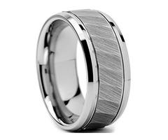 Unisex or Men's Tungsten Wedding Band. Silver Tone Hammered Finish Tungsten Carbide Ring with Bevele