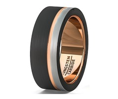Triple Tone Black, Gray and Rose Gold Tone Striped Pattern. Tungsten Ring Comfort Fit