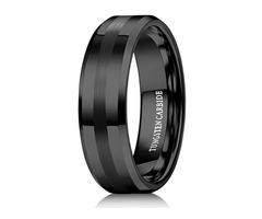 8mm - Unisex or Men's Tungsten Wedding Band. Black Tone Matte Finish Stripe and Comfort Fit.