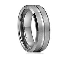 8mm - Unisex or Men's Tungsten Wedding Band. Silver Tone Matte Finish Tungsten Carbide Ring. Beveled