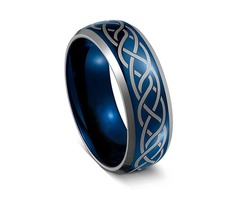 Unisex or Men's Tungsten Wedding Band. Blue with Laser Etched Celtic Knot Tungsten Carbide Ring - Ce
