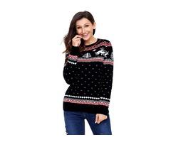 2019 HESSZ Black Christmas Reindeer Knit Sweater Winter Jumper