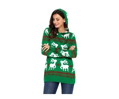 2019 New Fashion Christmas Reindeer Knit Green Hooded Sweater