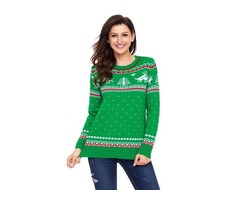 Women Green Christmas Reindeer Knit Sweater Winter Jumper