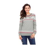 Top Selling Ladies Gray Christmas Reindeer Knit Sweater Winter Jumper