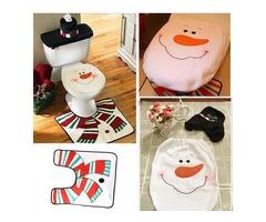 3pcs Christmas Snowman Toilet Seat Cover Set Bathroom Mat Closestool Cover Rug