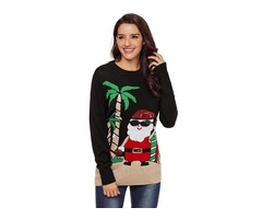 Winter New Reindeer Santa Christmas Knit pullover Sweater For Women