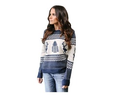 Fashion Ladies Winter Navy White Reindeer and Christmas Tree Sweater Pullover For Women