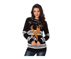 Fashionable Pullover Reindeer Jump Over Black Christmas Women Sweater
