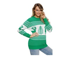 New Printed Women Pullover Knitted Green White Reindeer and Christmas Tree Sweater