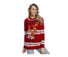Women's Patterns Reindeer Jump Over Red Christmas Sweater 2019