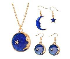Blue Moon Shape Earrings Necklace Party Jewelry Sets