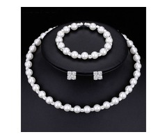 Romantic 8MM Handmade Pearl 3 Piece Wedding Jewelry Set