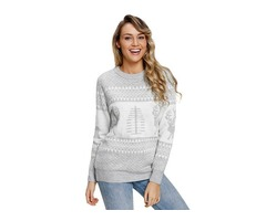 2019 Popular Women Grey White Reindeer and Christmas Tree Sweater