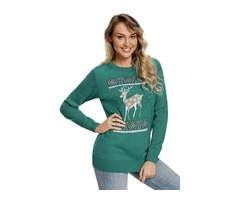 New Popular Adorable Reindeer In the Snow Turquoise Christmas Sweater