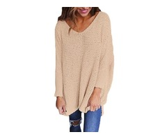 Newest long sleeve knitted V neck sweater pullover for women