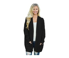Best Sale Women Long Sleeve Knit Texture Cardigan Sweater With Pockets