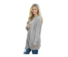 Factory price solid color women long sleeve knit front open cardigan