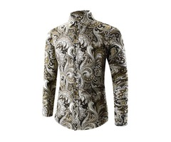 New Floral Printing Slim Turndown Neck Mens Shirts