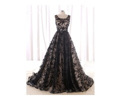 A-Line Scoop Beading Lace Black Evening Dress