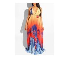 Floor-Length V-Neck Sleeveless Pleated Womens Dress