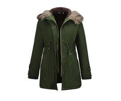 Winter Zipper Hooded Womens Overcoat