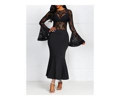 Patchwork Mid-Calf Long Sleeve High Waist Womens Lace Dress
