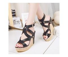 PU Buckle Open Toe Wedge Heel Womens Sandals