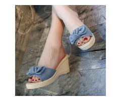 Denim Wedge Heel Womens Slide Sandals