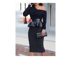 Long Sleeve Pleated Mid-Calf Womens Bodycon Dress