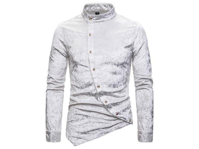 Stand Collar Fashion Asymmetric Plain Slim Mens Shirt | free-classifieds-usa.com