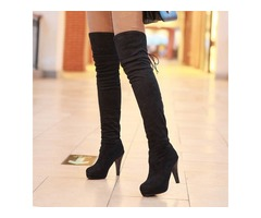 Suede Lace-Up Back Womens Thigh High Boots