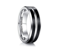 Unisex or Men's Tungsten Wedding Band. Black Matte Finish Tungsten Carbide Ring with Silver Tone. Be