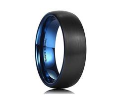 Unisex or Men's Tungsten Wedding Band. Black Matte Finish with Inside Blue Tungsten Carbide Ring Dom
