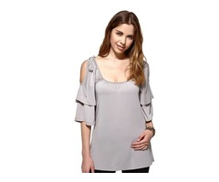 Stylish Ruffle Half Sleeves T-Shirt