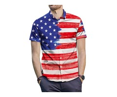 Color Block Flag Stripe Loose Mens Shirt