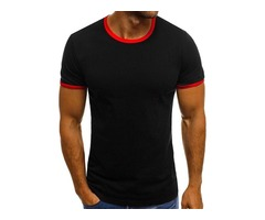 Color Block Round Neck Short Sleeve Mens T-shirt
